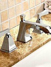 ZQ Messing Chrom drei Löcher 20,3cm breitgefächert Badezimmer Mischarmaturen Waschbecken Wasserhahn