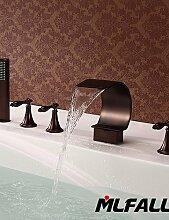 ZQ mlfalls Artistic Messing Finish 5Löcher Deck montieren Öl eingerieben Bronze Wasserfall Waschbecken Badezimmer Hand Dusche Armaturen