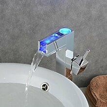 ZQ Moderne Chrom Farbwechsel LED Waschbecken Wasserhahn