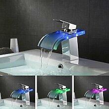 ZQ Moderne Ein Loch Farbwechsel LED Single Griff Wasserfall Waschbecken Wasserhahn