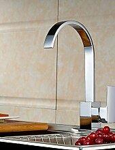 ZQ Moderne verchromten Kupfer Wasserfall Waschbecken Wasserhahn Wasserhahn - Silber