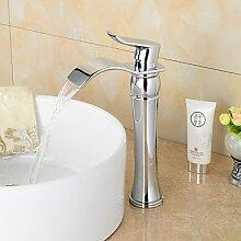 ZQ Modische Messing verchromt Waschbecken Wasserhahn–Silber