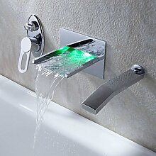 ZQ Personalisierte wandmontierten LED zeitgenössischen Kupfer Badezimmer Waschbecken Armaturen-Chromsilber