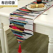 ZQ@QX Einfach stilvolle moderne Esszimmer Schlafzimmer Nachttisch Läufer Tischwäsche Dekoration Wohnzimmer Tischfahne, rot, 30 * 220cm