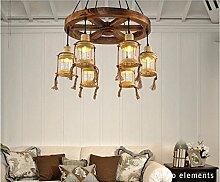 ZQ@QX Home-Design und Dekoration Beleuchtung Kronleuchter Antik Holz Kronleuchter Restaurant Cafe Bar kreative Steuermann Kronleuchter Lüster, D (ohne Leuchtmittel)