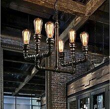 ZQ@QX Home-Design und Dekoration Beleuchtung Kronleuchter industriellen Wasser Rohre Kronleuchter Persönlichkeit kreative bar Café Restaurant Kronleuchter, 6head (ohne Leuchtmittel)