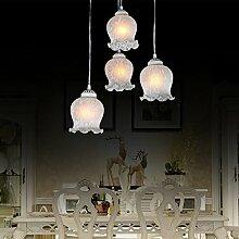 ZQ@QX Home-Design und Dekoration Beleuchtung Kronleuchter kreisförmigen Basis Europa idyllische Leben Glas Leuchten Schlafzimmer Beleuchtung Kronleuchter (ohne Leuchtmittel)