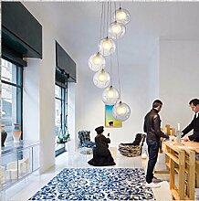 ZQ@QX Home-Design und Dekoration Beleuchtung Kronleuchter kreative Restaurant Kronleuchter LED 7 Farbe Glas Kronleuchter Schlafzimmer Wohnzimmer Lounge Bubble ball Kronleuchter, 7head (ohne Leuchtmittel)