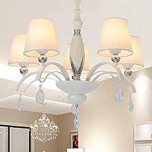 ZQ@QX Home-Design und Dekoration Beleuchtung Kronleuchter minimalistischen Stoffe Bügeln Kronleuchter, 5head (ohne Leuchtmittel)
