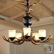 ZQ@QX Home-Design und Dekoration Beleuchtung Kronleuchter Retro ländlichen Wohnzimmer Lobby Bar Kronleuchter Creative Arts Bar Kronleuchter (ohne Leuchtmittel)