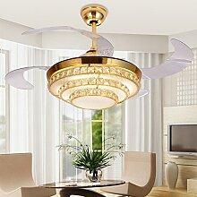ZQ@QX Home-Design und Dekoration Beleuchtung Kronleuchter Stealth Ventilator Decke Ventilator Restaurant Wohnzimmer Decke Ventilator Gold LED Energiesparlampen (ohne Leuchtmittel)