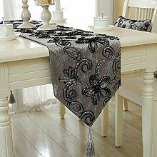 ZQ@QX minimalistische Anhänger gold Tisch Läufer Flagge moderner Tisch Tischläufer, grau, 32 * 200CM