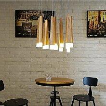 ZQ@QX Moderne Design Dekoration Lampe Schlafzimmer Wohnzimmer Küche Esszimmer Kronleuchter Nordische minimalistischen Holz Kronleuchter