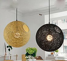 ZQ@QX Modernes Design und klassische Mode Anhänger Lampe Schlafzimmer Wohnzimmer Küche Kronleuchter Europäischen Stil einfach Bambus und Rattan Kronleuchter , Black