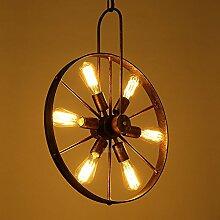 ZQ@QX Modernes Design und klassische Mode Anhänger Lampe Schlafzimmer Wohnzimmer Küche Kronleuchter Eisen-Rad-Kronleuchter