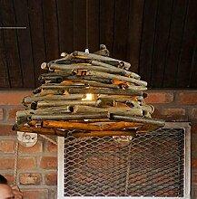 ZQ@QX Modernes Design und klassische Mode Anhänger Lampe Schlafzimmer Wohnzimmer Küche Kronleuchter Holz Holz Kronleuchter , 32cm