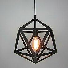 ZQ@QX Modernes Design und klassische Mode Anhänger Lampe Schlafzimmer Wohnzimmer Küche Kronleuchter Vintage schwarze eiserne Würfel Anhänger