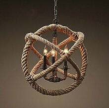 ZQ@QX Modernes Design und klassische Mode Anhänger Lampe Schlafzimmer Wohnzimmer Küche Kronleuchter 3 Scheinwerfer Seil Anhänger , diameter 35cm, high 35cm