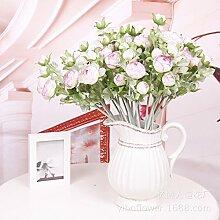 ZQ@QX12 Heimtextilien dekoratives Fasertyp künstliche Blume Zweig, Rosa