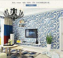 ZQ@QXEinfache nicht-gewebten geometrischen Relief Tapeten, Tapete 53*1000 cm, blau