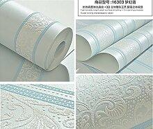 ZQ@QXEinfache vertikale Streifen 3D-geprägte Vliestapeten, Wallpaper 53*1000 cm, blau