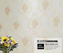 ZQ@QXIm europäischen Stil Vliesstoff Schlafzimmer Wohnzimmer Wallpaper 53*1000 cm, weiß