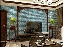 ZQ@QXImitation brick Restaurant Ziegel, Backstein, Tapete, Tapeten, 53*1000cm, blau Brick