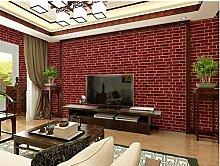 ZQ@QXImitation brick Restaurant Ziegel, Backstein, Tapete, Tapeten, 53*1000cm, rote Ziegel