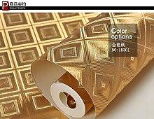 ZQ@QXReines Gold square Glas Wallpaper 53*1000 cm, EIN