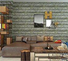 ZQ@QXUmweltschutz Vliesstoff, retro Wohnzimmer, Schlafzimmer, Tapete, Tapeten, 53*1000cm, grün