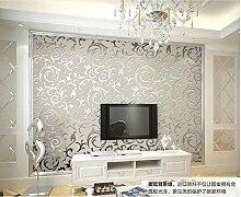 ZQ@QXVliesgewebe, europäischen Stil Haken, Blume, Schlafzimmer, Wohnzimmer, Tapete, Tapeten, 53*1000cm, Asche