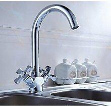 ZQ Schwenkauslauf Waschtisch Waschbecken-Mischbatterie zwei Griffen Küchenarmatur Badezimmer Waschbecken Wasserhahn