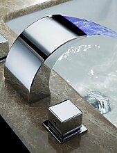 ZQ Waschbecken Armaturen Moderne LED/Wasserfall Messing Chrom Wasserhahn Mixer