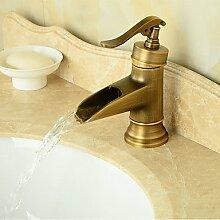ZQ Waschbecken Wasserhahn im Vintage-Stil Messing Antik Finish hoch Waschbecken Wasserhahn