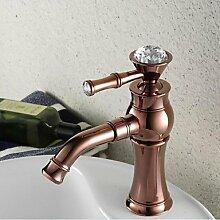 ZQ Zeitgenössisch Mittellage Einhand Ein Loch in Rotgold Waschbecken Wasserhahn