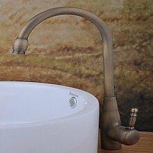 ZQ Zeitgenössische Centerset Single Griff ein Loch im Antik Kupfer Waschbecken Wasserhahn