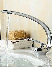 ZQ Zeitgenössische ein Loch Stil, Slim Form einzigen Griff mit heißem und kaltem Wasser Waschbecken Wasserhahn–Remasuri
