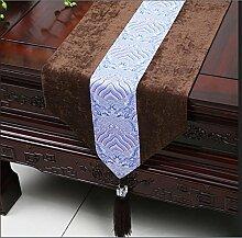 ZQG® Tischläufer Einfache moderne Meerwasser amerikanische pastoralen Kaffee Tischtuch Tischdecken Bett Flagge Bettende Handtuch Handtaschen Handtaschen Striped Home Textile Tischdecken Leinen Tischdecke A 33*230cm