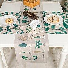 ZQG® Tischläufer Fluid Systems TV-Schrank Teetisch Tischdecken kleine frische Landschaft Vermischung Aquarell Pflanze Striped Home Textile Tischdecken Leinen Tischdecke A 30*240CM