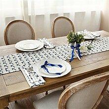 ZQG® Tischläufer moderne einfach Western Fluid Systems Tischdecken Couchtisch Schrank TV-Schrank Meal Beistellschrank marineblau Kaffee Farbe Striped Home Textile Tischdecken Leinen Tischdecke B 35*200