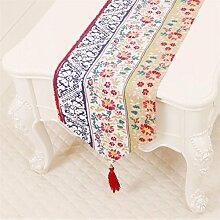 ZQG® Tischläufer Pastoral Kaffee Tischtuch Tischdecken Bett Flagge lange Schrank Tischset Tischtuch Flagge Striped Home Textile Tischdecken Leinen Tischdecke A 33*180cm