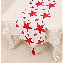 ZQG® Tischläufer Pastoral Kaffee Tischtuch Tischdecken Bett Schrank flag flag Tischmatte lange Tischtuch Striped Home Textile Tischdecken Leinen Tischdecke D 33*180cm