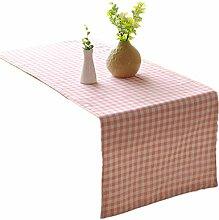 ZQG® Tischläufer Wohnzimmer nähen einfache Striped Home Textile Tischdecken Leinen Tischdecke pink 30*180cm