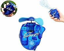 Zqmd Wasserstrahl-Ventilator, beweglicher Klimaanlage Ventilator, Mini Handheld Klimaanlage Ventilator-Taschen-Spray-Nebel-Wasser-Flaschen-Ventilator Beweglich mit Karabiner