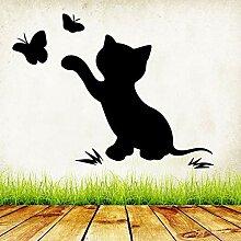 zqyjhkou Schöne Schmetterling Katze Wandaufkleber