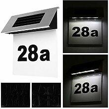 ZQYR Plaque# LED Solarhausnummer Edelstahl Solar
