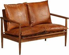 Zqyrlar - 2-Sitzer-Sofa Leder mit Akazienholz Braun