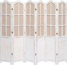 Zqyrlar - 6-teiliger Raumteiler Weiß 210 x 165 cm