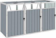 Zqyrlar - Mülltonnenbox für 3 Mülltonnen Grau