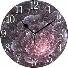 Zseeda Wanduhr Rosa abstrakte Blume mit funkelnden